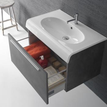 Base 80 con un cassetto completa di lavabo Cod. BP080.BI.