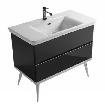 Base a terra cm 100 a doppio cassetto, completa di lavabo