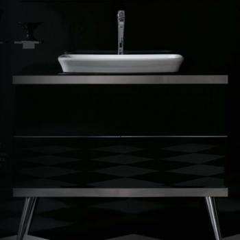 Base a terra cm 100 a doppio cassetto completa di lavabo cod. RE060.BI