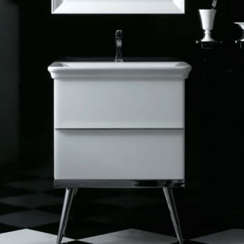 Base a terra cm 70 a doppio cassetto completa di lavabo