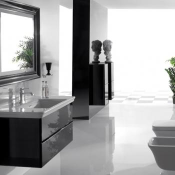 Base sospesa cm 100 a doppio cassetto completa di lavabo
