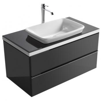 Base sospesa cm 100 a doppio cassetto completa di lavabo cod. RE060.BI