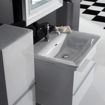 Base sospesa cm 70 a doppio cassetto completa di lavabo