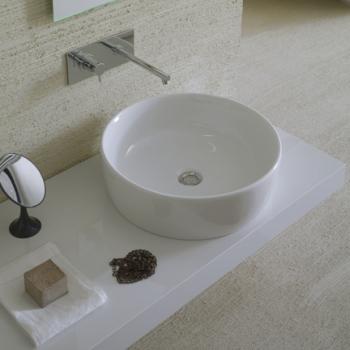Lavabo Ø 48. Senza foro troppo pieno. Per rubinetteria a muro o su piano. Installazione da appoggio. Completo di fissaggi