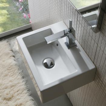 Lavabo 40 predisposto per rubinetteria monoforo o parete.Con foro troppo pieno. Installazione sospesa. Completo di fissaggi.