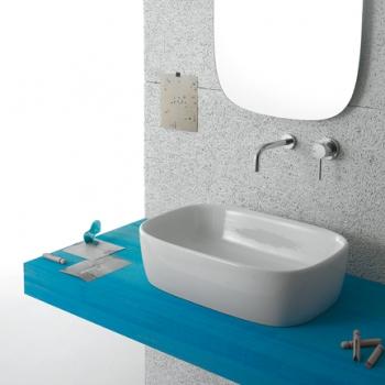 Lavabo da appoggio GENESIS 55.37 Lavabo da appoggio. Senza foro troppo pieno. Per rubinetteria a muro o su piano. Completo di fissaggi