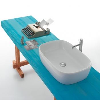 Lavabo da appoggio GENESIS 60.40 Lavabo da appoggio. Senza foro troppo pieno. Per rubinetteria a muro o su piano. Completo di fissaggi