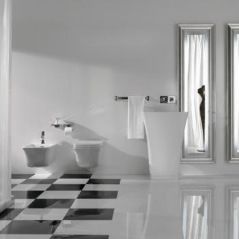Lavabo monolito free standing per scarico a parete. Senza foro troppo pieno
