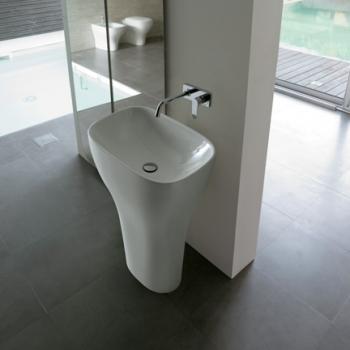 Lavabo monolito free standing per scarico a pavimento. Senza foro troppo pieno. Completo di sistema di scarico.
