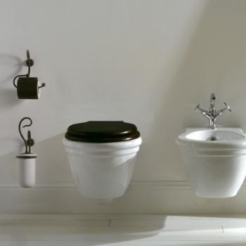 Portascopino da parete con contenitore in ceramica