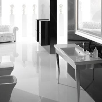 Struttura 120 a terra bianco lucido completa di lavabo