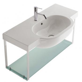 Struttura sospesa 100 completa di lavabo Cod. SC014.BI in ottone cromato con ripiano in vetro satinato.