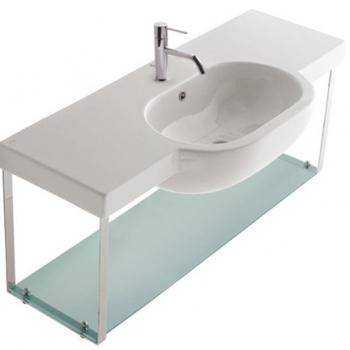 Struttura sospesa 120 completa di lavabo Cod. SC024.BI in ottone cromato con ripiano in vetro satinato.