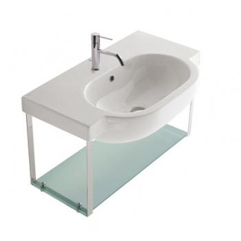 Struttura sospesa 80 completa di lavabo Cod. SC013.BI in ottone cromato con ripiano in vetro satinato.