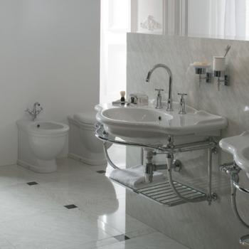 Struttura sospesa in ottone cromato completa di lavabo cod. PA056.BI